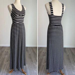 Puella for Anthro Tan & Black Striped Maxi Dress S